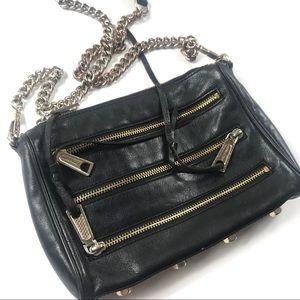 Rebecca Minkoff Mini 5 Zip Black Crossbody Bag